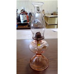 PEACH GLASS COAL OIL LAMP