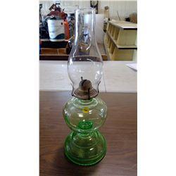 GREEN GLASS COAL OIL LAMP
