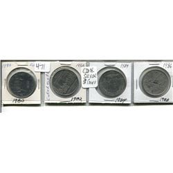 FOUR CANADIAN SILVER DOLLARS 1980, 82, 84, 86
