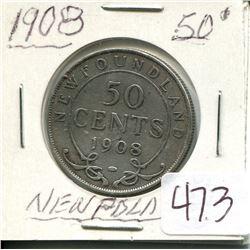 1908 NEWFOUNDLAND 50 CENT