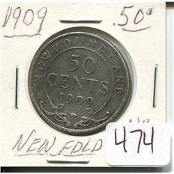 1909 NEWFOUNDLAND 50 CENT