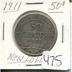 1911 NEWFOUNDLAND 50 CENT