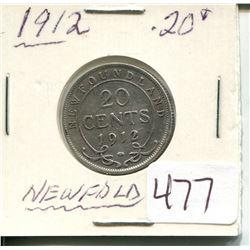 1912 NEWFOUNDLAND 20 CENT