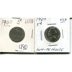TWO US FIVE CENTS 1900, 1967