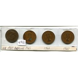 FOUR UK ONE CENT 1964, 1965, 1966, 1967