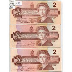 (3) 1986 $2.00 BILLS