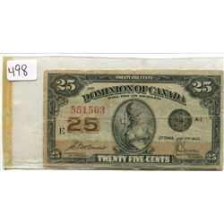 1923 25 CENT BILL (SHINPLASTER)