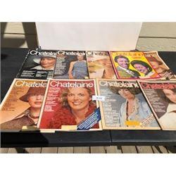 LOT OF 9 1974 CHATELAINE MAGAZINES