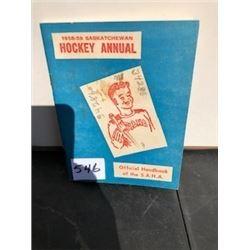 1958-1959 SASK. HOCKEY ANNUAL HAND BOOK