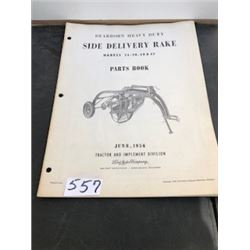 1956 FORD SIDE DELIVERY RAKE PARTS BOOK