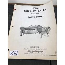 1962 FORD HAY BALER PARTS BOOK