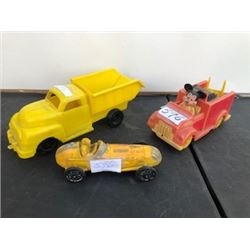 3 PIECES, 50'S YELLOW FORD TRUCK, YELLOW RACER, MICKEY FIRE TRUCK