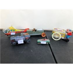 LOT OF 5 LITHO TIN TOYS 1950'S AS IS