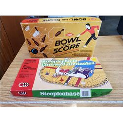 2 VINTAGE BOARD GAMES - BOWLING, STEEPLECHASE