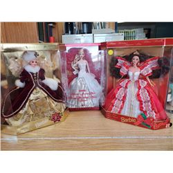 3 COLLECTOR BARBIES IN DISPLAY BOXES