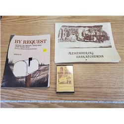 2 SASKATCHEWAN HISTORY BOOKS - MENTAL MUNCHING & RADIO CASSETTE TAPE