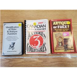3 ANTIQUE PRICE GUIDES, 2 BOOKS, 1 VCR TAPE