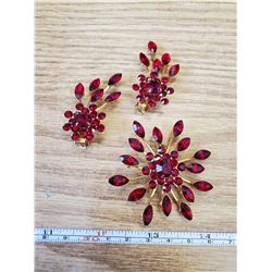 3 PIECES RED RHINESTONE SET- MARKED PATENT PENDING