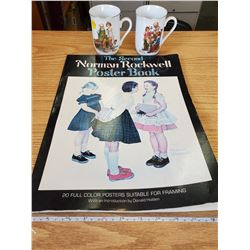 2 NORMAN ROCKWELL MUGS & POSTER BOOK