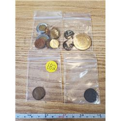 14 COIN LOT- 9 FOREIGN, 2 CANADIAN WHEAT PENNIES, BRASS COIN, 1917 FARTHING & 1918 USA CENT