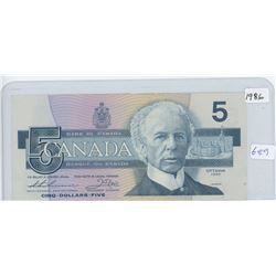 Canadian 1986 Five Dollar Bank Note