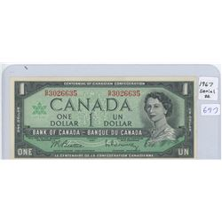1967 Canadian One  Dollar Note With Serial Number