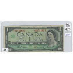 1967 Canadian One Dollar Replacement Bank Note With Serial Number