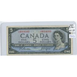 1954 Canadian Five Dollar Bank Note (BEATTIE, COYNE)