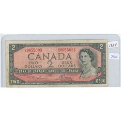 1954 Canadian Two Dollar Bank Note