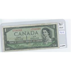 1954 Canadian One Dollar Bank Note-Devil's Face