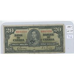 1937 Canadian Twenty Dollar Bank Note