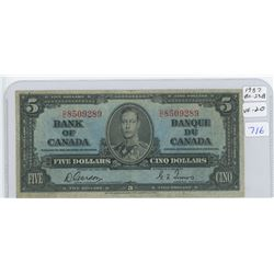 1937 Canadian Five Dollar Bank Note