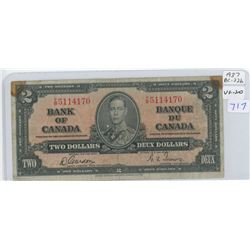 1937 Canadian Two Dollar Bank Note