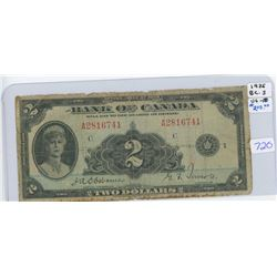 1935 Canadian Two Dollar Bank Note