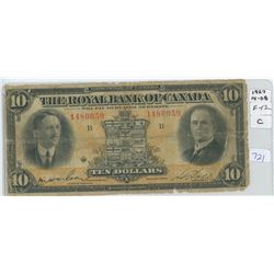 1927 Royal Bank Of Canada Ten Dollar Note