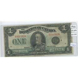 1923 Dominion Of Canada One Dollar Bank Note