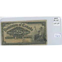 1900 Dominion Of Canada Twenty Five Cent Shin Plaster