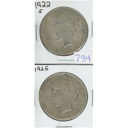 1922S & 1925 USA PEACE DOLLAR