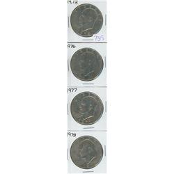 1972, 1976, 1977, 1978 USA SILVER DOLLARS