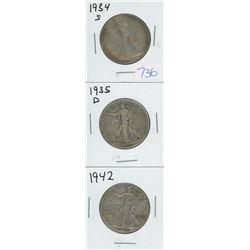 1934S, 1935D, 1942 USA WALKING LIBERTY HALF DOLLAR