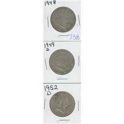 1948, 1949D, 1952D USA HALF DOLLARS