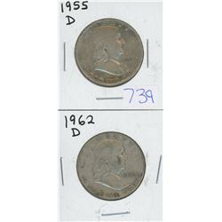 1955D, 1962D USA FRANKLIN HALF DOLLARS