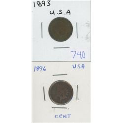 1893, 1896 USA INDIAN HEAD PENNIES