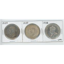 1935, 1939, 1949 CANADIAN SILVER DOLLARS