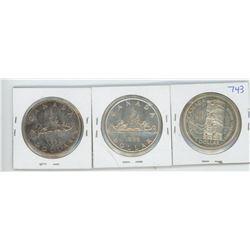 1953 NSF FWL, 1955, 1958 CANADIAN SILVER DOLLARS