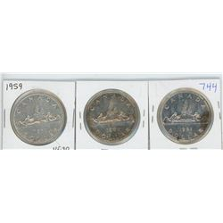 1959, 1960, 1961 CANADIAN SILVER DOLLARS
