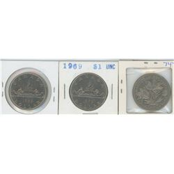 1968, 1969, 1970 CANADIAN SILVER DOLLARS