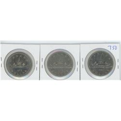 1977, 1979, 1980 CANADIAN SILVER DOLLARS