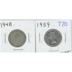 1948, 1959 CANADIAN 25 CENT PIECES