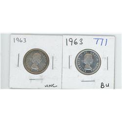 1963 UNC, 1963 BU CANADIAN 25 CENT PIECES